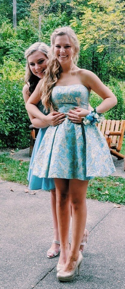 Sherri Hill Blue Size 4 Sorority Formal Wedding Guest Cocktail Dress on Queenly