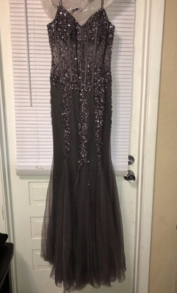 Queenly size 12 Jovani Silver Mermaid evening gown/formal dress