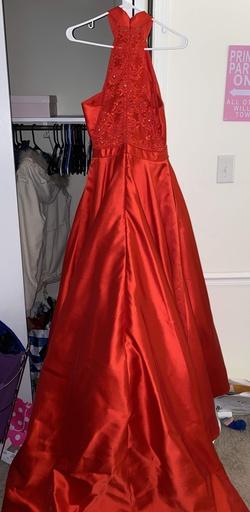 Sherri Hill Red Size 6 Short Height Halter Silk Train Dress on Queenly