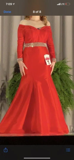 Rachel Allan Red Size 6 Sleeves Pageant Short Height Mermaid Dress on Queenly