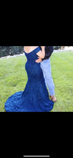Alyce Paris Blue Size 10 Train Mermaid Dress on Queenly