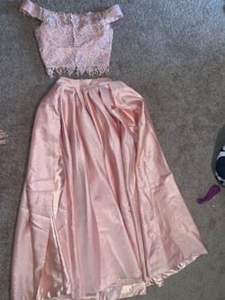 Dave & Johnny Light Pink Size 00 Side Slit Two Piece Lace Ball gown on Queenly