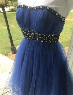 Mac Duggal Blue Size 4 Tulle Strapless Cocktail Dress on Queenly