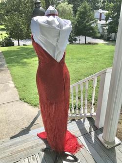Mac Duggal Red Size 6 Halter Fringe Train Side slit Dress on Queenly