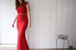 Queenly size 4 Eureka USA Red Mermaid evening gown/formal dress