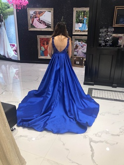 Jovani Blue Size 4 Backless Ball gown on Queenly