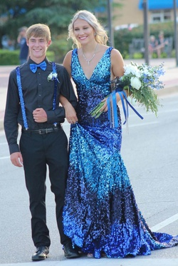 Queenly size 2 Jovani Blue Train evening gown/formal dress