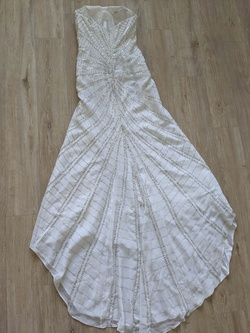Tony Bowls White Size 4 Jewelled Side slit Dress on Queenly