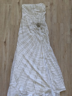 Queenly size 4 Tony Bowls White Side slit evening gown/formal dress
