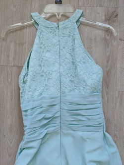 Bill Levkoff Blue Size 8 Short Height Halter A-line Dress on Queenly