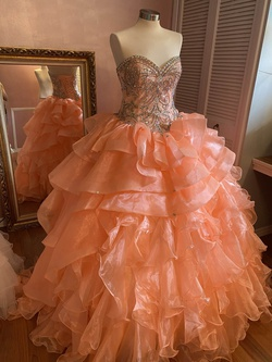 Queenly size 8  Orange Ball gown evening gown/formal dress