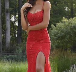 Mori Lee Red Size 4 Prom Sorority Formal Side slit Dress on Queenly