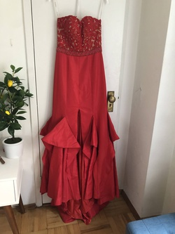 Sherri Hill Red Size 4 Side Slit Mermaid Dress on Queenly