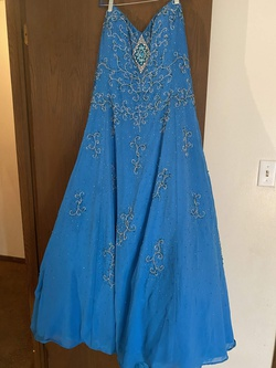 Riva Designer Blue Size 26 Plus Size Ball gown on Queenly