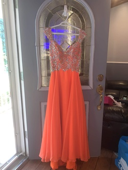Queenly size 8  Orange Train evening gown/formal dress