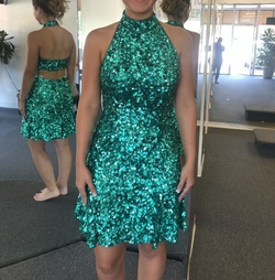 Queenly size 8 Sherri Hill Green Cocktail evening gown/formal dress