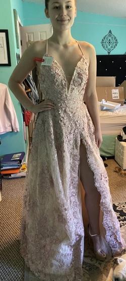 Tarik Ediz Pink Size 6 Prom Lace A-line Dress on Queenly