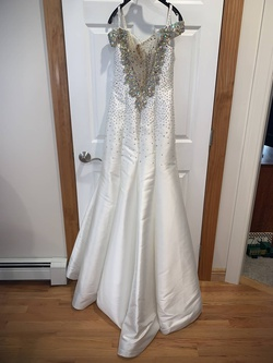 Tony Bowls White Size 6 Pageant Jewelled Sheer A-line Dress on Queenly