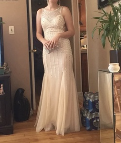 Queenly size 8 Cecily Brown Nude Mermaid evening gown/formal dress