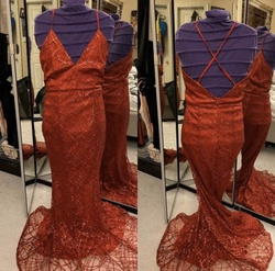 Queenly size 4  Red A-line evening gown/formal dress