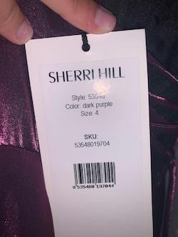 Style 53548 Sherri Hill Purple Size 4 Prom Side slit Dress on Queenly