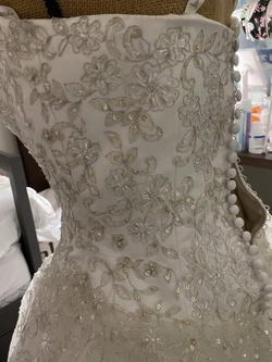 Justin Alexander White Size 10 Sequin Wedding Jewelled Ball gown on Queenly