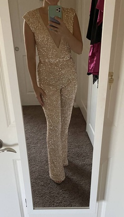 Queenly size 4  Nude Romper/Jumpsuit evening gown/formal dress