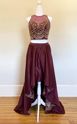 Queenly size 4 Dave & Johnny Red A-line evening gown/formal dress