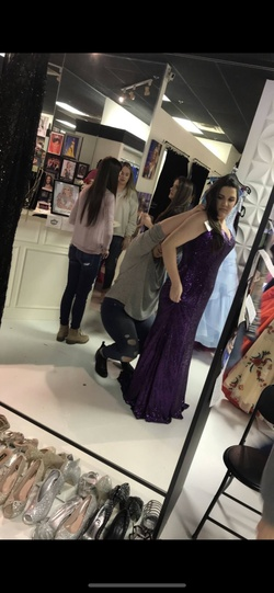 Johnathan Kayne Purple Size 16 Halter Plus Size Straight Dress on Queenly