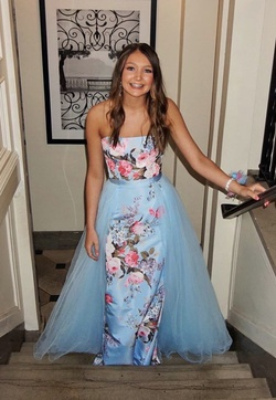 Sherri Hill Blue Size 0 Overskirt Floral A-line Dress on Queenly