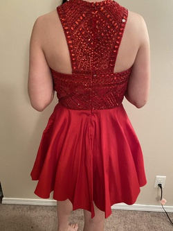 Sherri Hill Red Size 12 Halter Cocktail Dress on Queenly