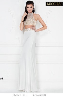 Queenly size 0 Lucci Lu White Straight evening gown/formal dress