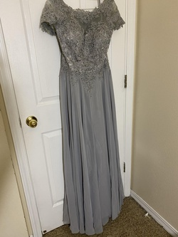 Queenly size 12 Eureka Silver A-line evening gown/formal dress