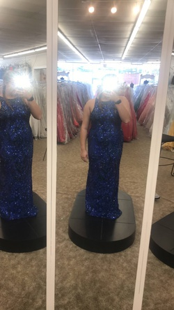 Queenly size 14 Jovani Blue Straight evening gown/formal dress