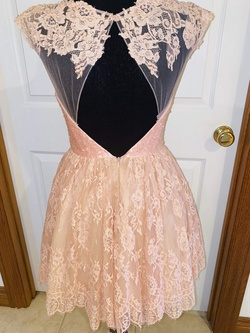 Sherri Hill Light Pink Size 4 Cap Sleeve Backless Cocktail Dress on Queenly