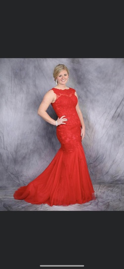 Queenly size 12  Red Mermaid evening gown/formal dress