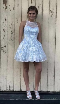 Ellie Wilde Blue Size 0 Flare Wedding Guest Cocktail Dress on Queenly