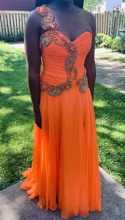 Queenly size 8 Sherri Hill Orange A-line evening gown/formal dress