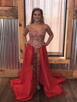 Queenly size 2 Panoply Red Romper/Jumpsuit evening gown/formal dress