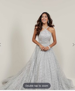 Tiffany designs Silver Size 6 Prom Pageant Halter A-line Dress on Queenly