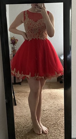 Queenly size 6  Red A-line evening gown/formal dress