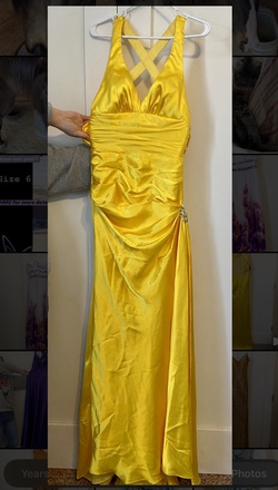 Queenly size 4 Flirt Yellow Side slit evening gown/formal dress
