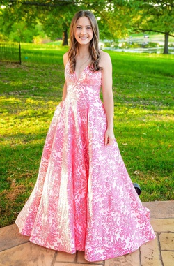 Style 53881 Sherri Hill Pink Size 4 Backless Lace A-line Dress on Queenly