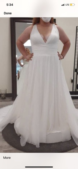 Pronovias White Size 18 Wedding Tulle A-line Dress on Queenly