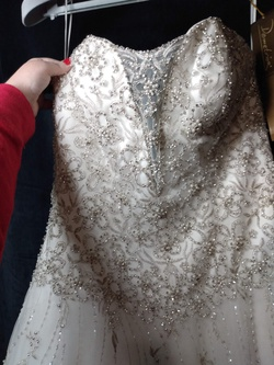 Demetrios Bridal White Size 10 Sequin Wedding Jewelled Ball gown on Queenly