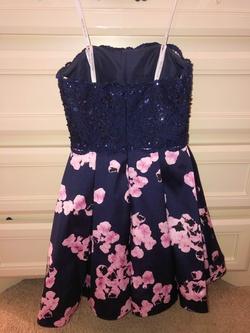 Rachel Allan Blue Size 4 Tall Height Pink A-line Dress on Queenly