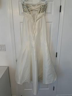 Night Moves White Size 4 Strapless Corset Sequin Mermaid Dress on Queenly