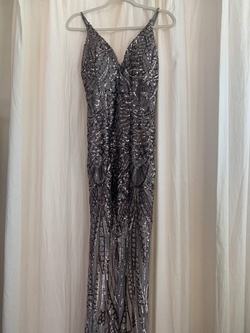 Queenly size 12 Windsor Silver Straight evening gown/formal dress