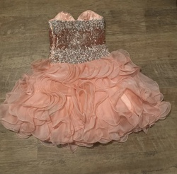 Sherri Hill Orange Size 0 Peach Shiny A-line Dress on Queenly