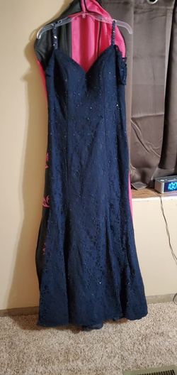 Mori Lee Blue Size 12 Corset Fitted Mermaid Dress on Queenly